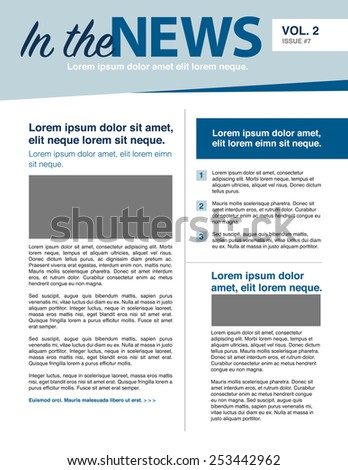 Page layout newsletter for use with business or nonprofit