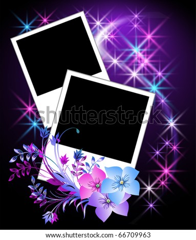 Page layout photo album with flowers - stock vector