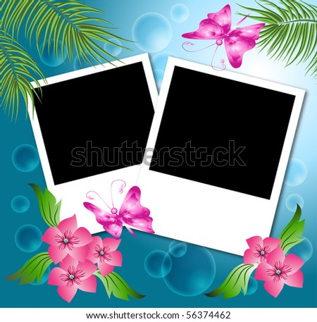 Page layout photo album with flowers and butterfly - stock vector