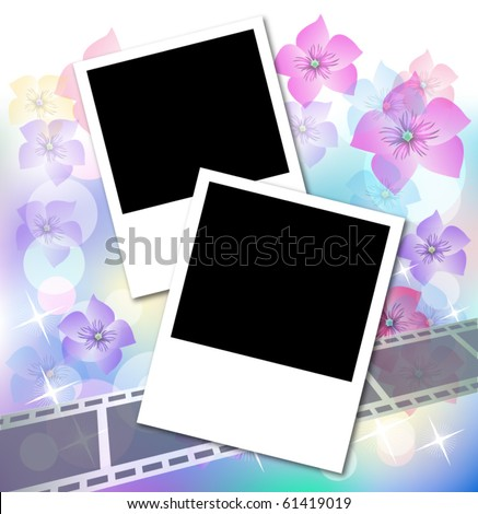 Page layout photo album with flowers and filmstrip - stock vector