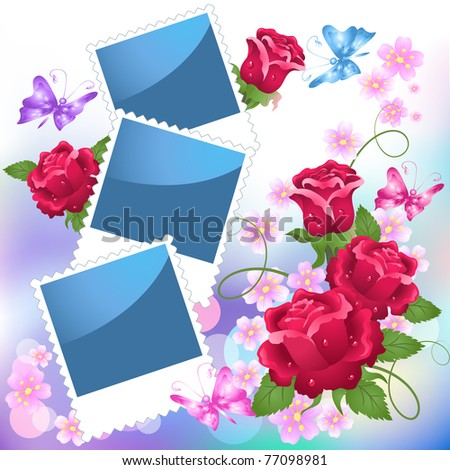 Page layout photo album with roses and butterfly - stock vector