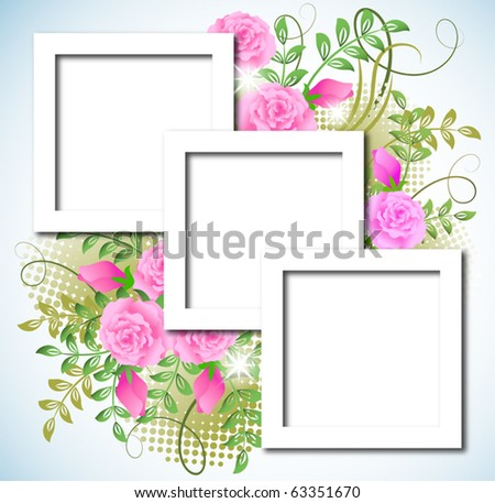 Page layout postcard with flowers ornament for inserting text or photo - stock vector