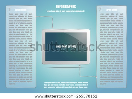 Page 3 of 4. Abstract touchscreen tablet computer  for info graphic, presentation, books, documents, web design etc - stock vector