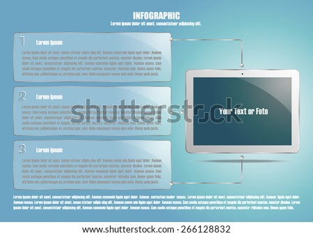 Page 1 of 4. Abstract touchscreen tablet computer  for info graphic, presentation, books, documents, web design etc - stock vector