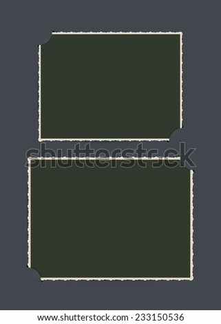 Page of vintage photo album, with photo frames. Vector illustration, eps 10. - stock vector