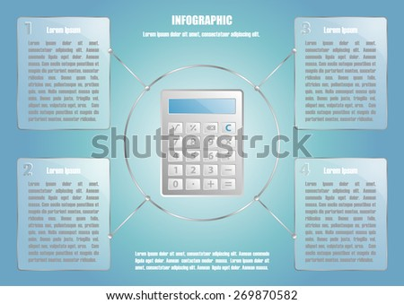 Page 2 of 8 with abstract calculator  for info graphic, presentation, books, documents, web design etc - stock vector