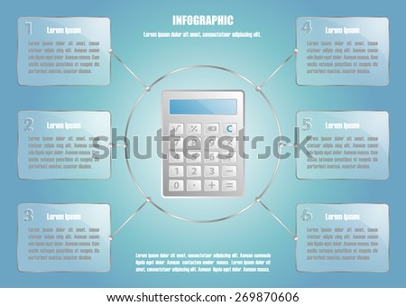 Page 1 of 8 with abstract calculator  for info graphic, presentation, books, documents, web design etc - stock vector