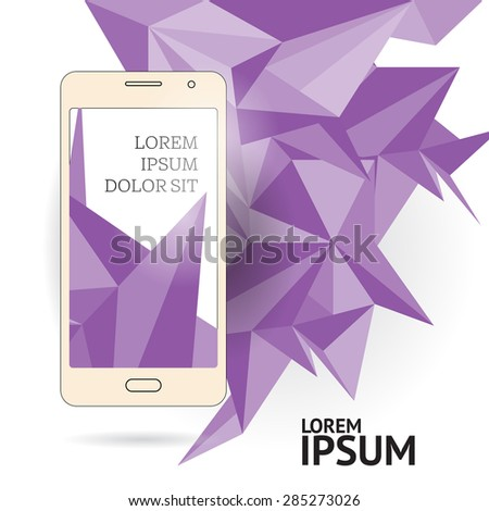 Page or banner design with mobile phone. Advertisement. Polygonal background. - stock vector