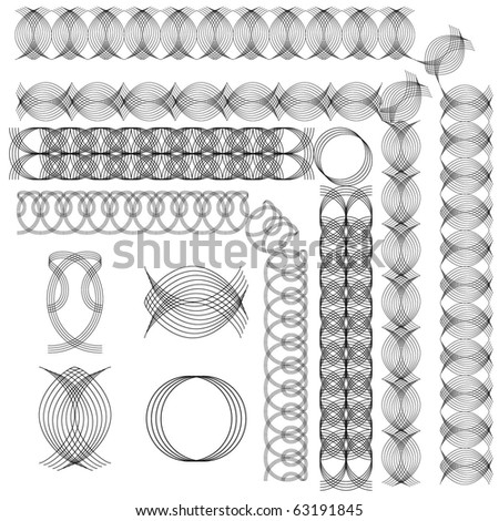 Page ornaments. Set of  vector intricate corner frames or borders for certificates, awards or invitations.