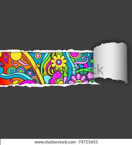 Page rip revealing psychedelic background, eps10 vector - stock vector