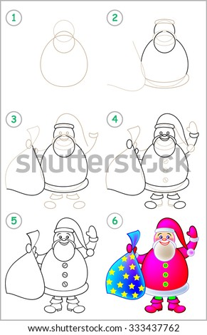 Page shows how to learn step by step to draw Santa Claus. Developing children skills for drawing and coloring. Vector image. - stock vector