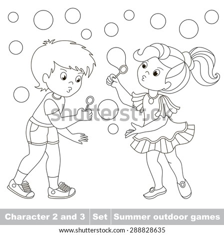 Page To Be Color Boy And Girl Playing With Soap Bubbles Cartoon Baby