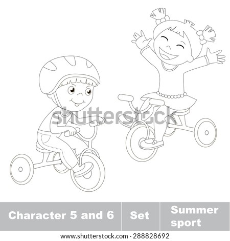 Page to be color. Two baby boy and girl ride a bike. Summer outdoor games for children. Kids summer sport. - stock vector