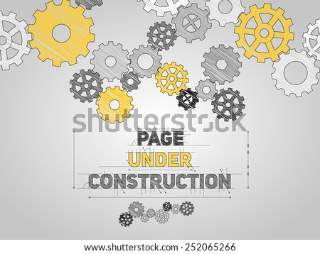 Page Under construction concept, sketched drawing with gear wheels - stock vector