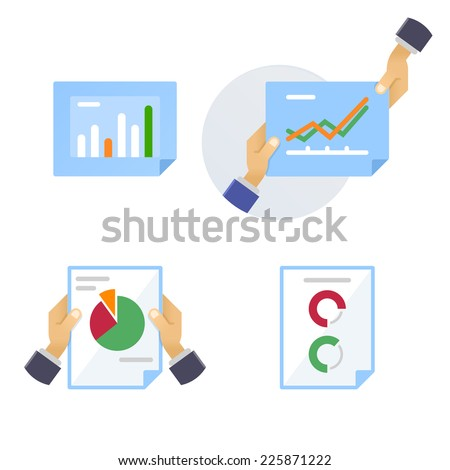 Pages of statistical and analytical information - stock vector