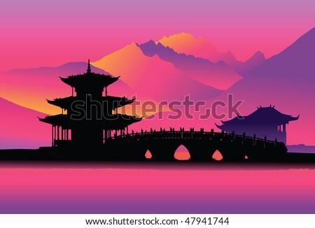 Pagoda and bridge (Lijang, China) - stock vector