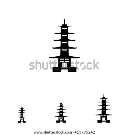 Pagoda icon - stock vector
