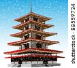 Pagoda winter. Vector illustration - stock vector