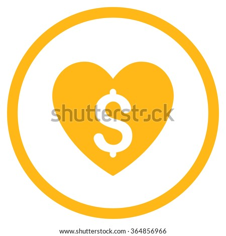 Paid Love vector icon. Style is flat circled symbol, yellow color, rounded angles, white background. - stock vector