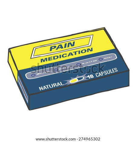 Pain Medication Box for when you Get Hurt on the Job or Have Back Pain or Even a Simple Headache.  The Capsules, Gel Tabs, or Tablets will Help You Feel Healthy and Strong.  This Drug Relieves Pain! - stock vector