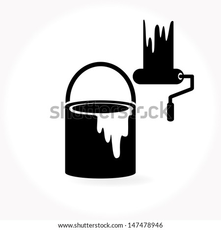 paint and paint brush - stock vector