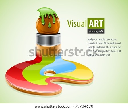 paint brush as symbol of visual art vector illustration - stock vector