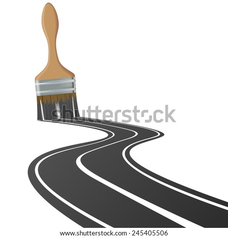 paint brush draws the road - stock vector