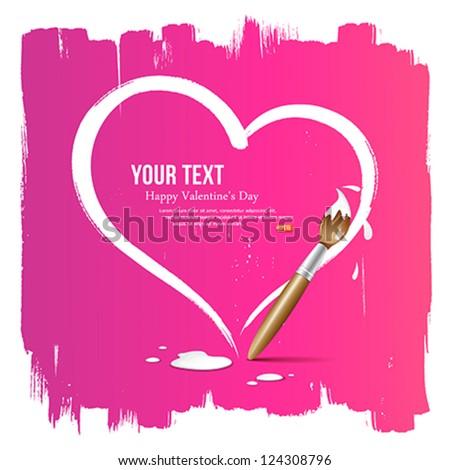 Paint brush heart shape on pink background, vector illustration - stock vector