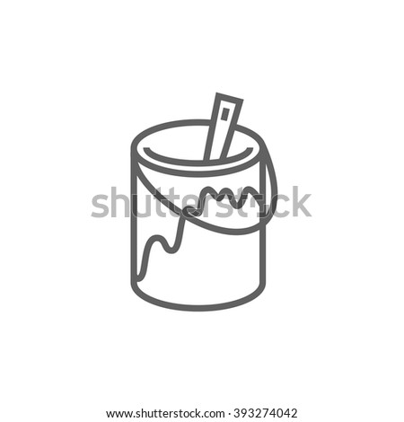 Paint brush in the paint tin line icon. - stock vector