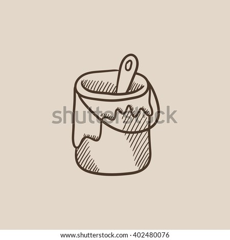 Paint brush in the paint tin sketch icon. - stock vector