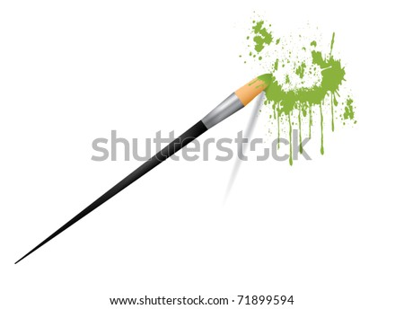 Paint brush painting stains vector illustration - stock vector