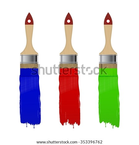 Paint brush with color paint stroke set isolated on a white background. Vector illustration.  - stock vector