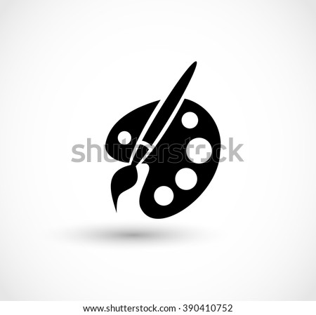 Paint brush with palette icon vector - stock vector