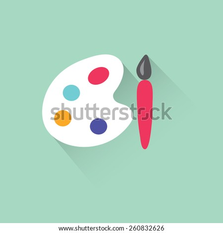Paint brush with palette icon. Vector illustration - stock vector