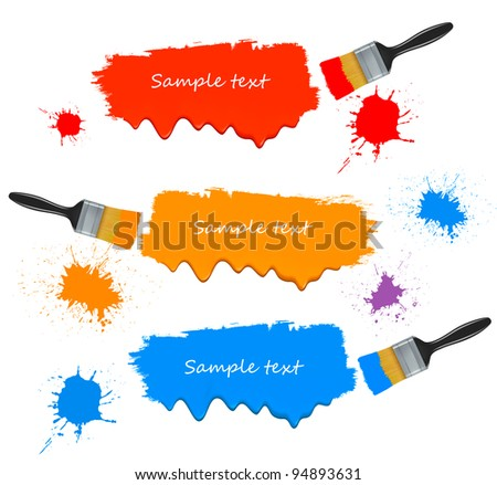 Paint brushes and paint banners. Vector illustration. - stock vector