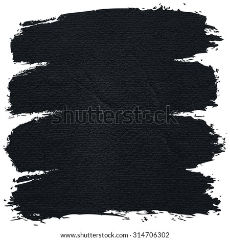 Paint brushstroke on watercolor texture with damages, folds and wrinkles. Blank grunge black background with space for text. This vector illustration clip-art design element save in 8 eps - stock vector