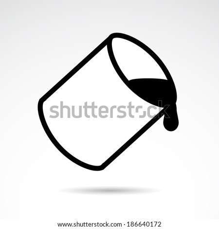 Paint Bucket Silhouette Paint Bucket Icon Isolated on