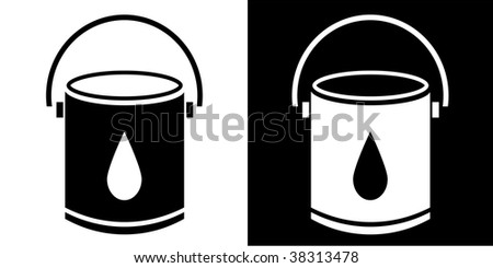 Paint Bucket Silhouette Paint Bucket Isolated on White