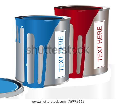 paint bucket red and blue - stock vector