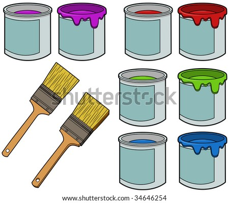 stock-vector-paint-buckets-and-brushes-vector-illustrations-34646254.jpg (450×399)