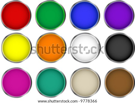 Paint cans view from top - stock vector