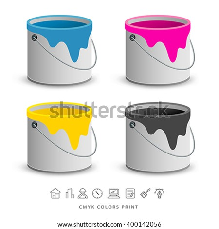 Paint colorful cans with business icons concept design, vector illustration - stock vector
