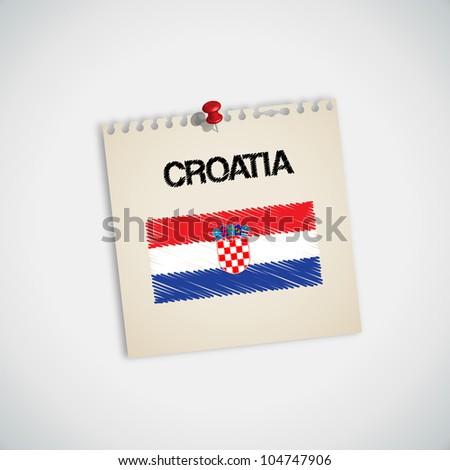 Paint Flag of Croatia Note Paper Vector - stock vector