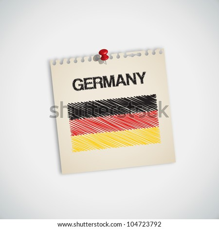 Paint Flag of Germany Note Paper Vector - stock vector