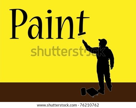 paint job worker with brush - stock vector