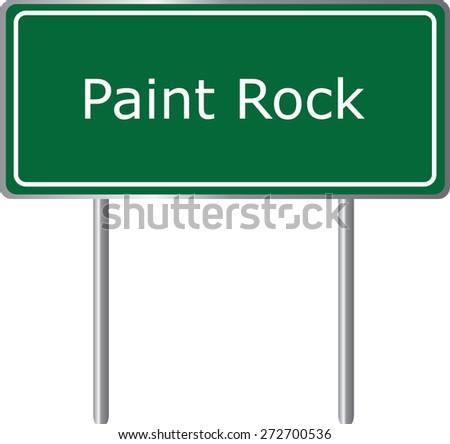 Paint Rock, Alabama, road sign green vector illustration, road table, USA city - stock vector