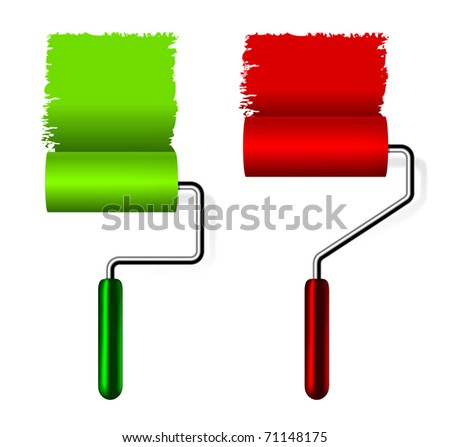 paint roller brush on white background