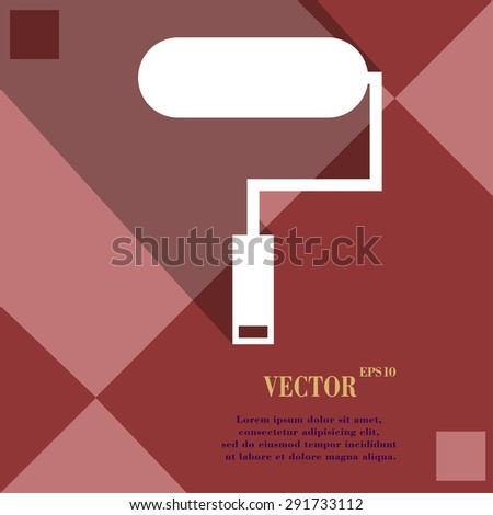 Paint roller icon symbol on red abstract geometric background with long shadows. Vector illustration - stock vector