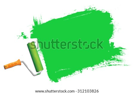 Paint roller in action and green color background for your message. Vector illustration. - stock vector