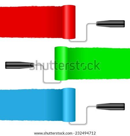 Paint roller set on a white background.